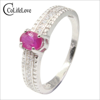 100% natural ruby silver ring for engagement 4 mm * 6 mm 0.4 ct Africa ruby ring solid 925 silver ruby jewelry birthday gift
