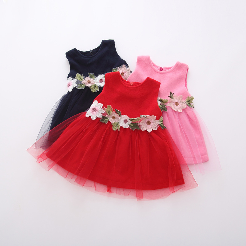 7a96ccef2bdd1 US $33.0 |Wholesale New Baby Girl Autumn Winter Princess Dress Girl Infant  Flowers Belt Woolen Dress Clothes-in Dresses from Mother & Kids on ...