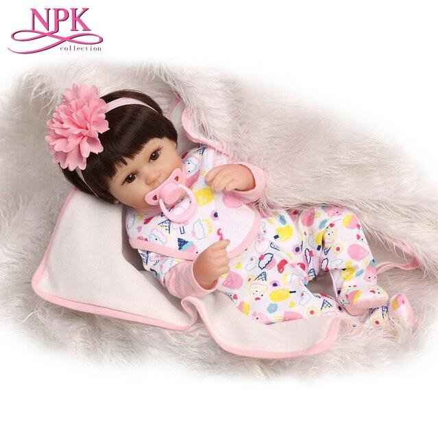 NPKCOLLECTION 16 Inch Bebes Reborn Doll Handmade Silicone Reborn Baby Adorable Lifelike Reborn Babies Doll Toddler Bonecas
