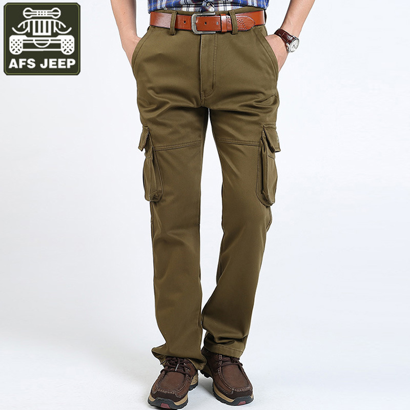 AFS JEEP Brand Winter Cargo Pants Men Thick Fleece Trousers Men Multi-pockets Pants Army Military Cargo Pants Plus Size 31-44 afs jeep new men cargo pants autumn winter overall loose straight more pocket jeans fashion casual man trousers bottoms