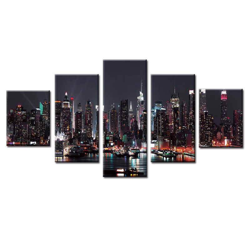 Fashion Framed Wall Decorations 5pcs / Set Modern City night series Canvas Print Artist Canvas Decoration