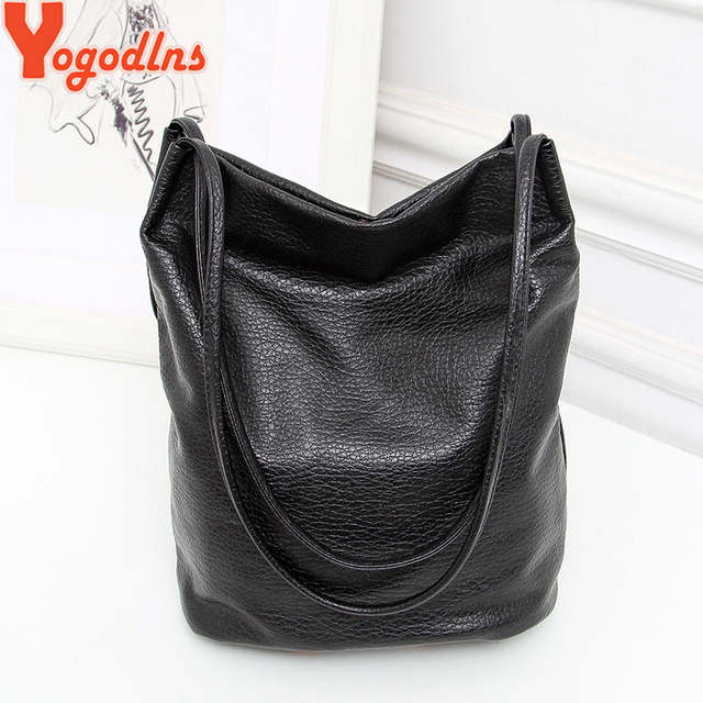 14e1a74458 Yogodlns Women Leather Handbags Black Bucket Shoulder Bags Ladies Cross  Body Bags Large Capacity Ladies Shopping