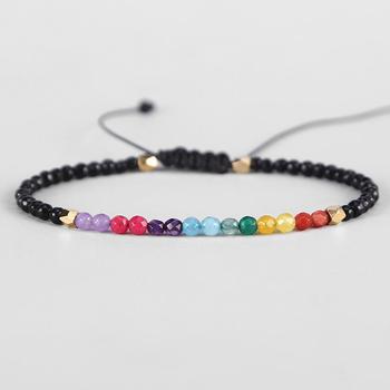 fce67328b921 12 constelación suerte fina pulseras piedra Natural 3mm cuentas 7 Chakra  pulsera Simple cuerdas Hollywood perlas Bohemia