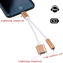 2in1 Lightning to 3.5mm Headphone Jack Adapter Charger Cable For iPhone 7 6S plus