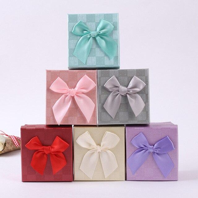 8 сезонов 9x8,5x5 см бантом сетки Cube бумажная шкатулка для драгоценностей коробки для часов с черный небольшой подушки детские подарочная упаковка дисплей оптовая продажа 1 шт