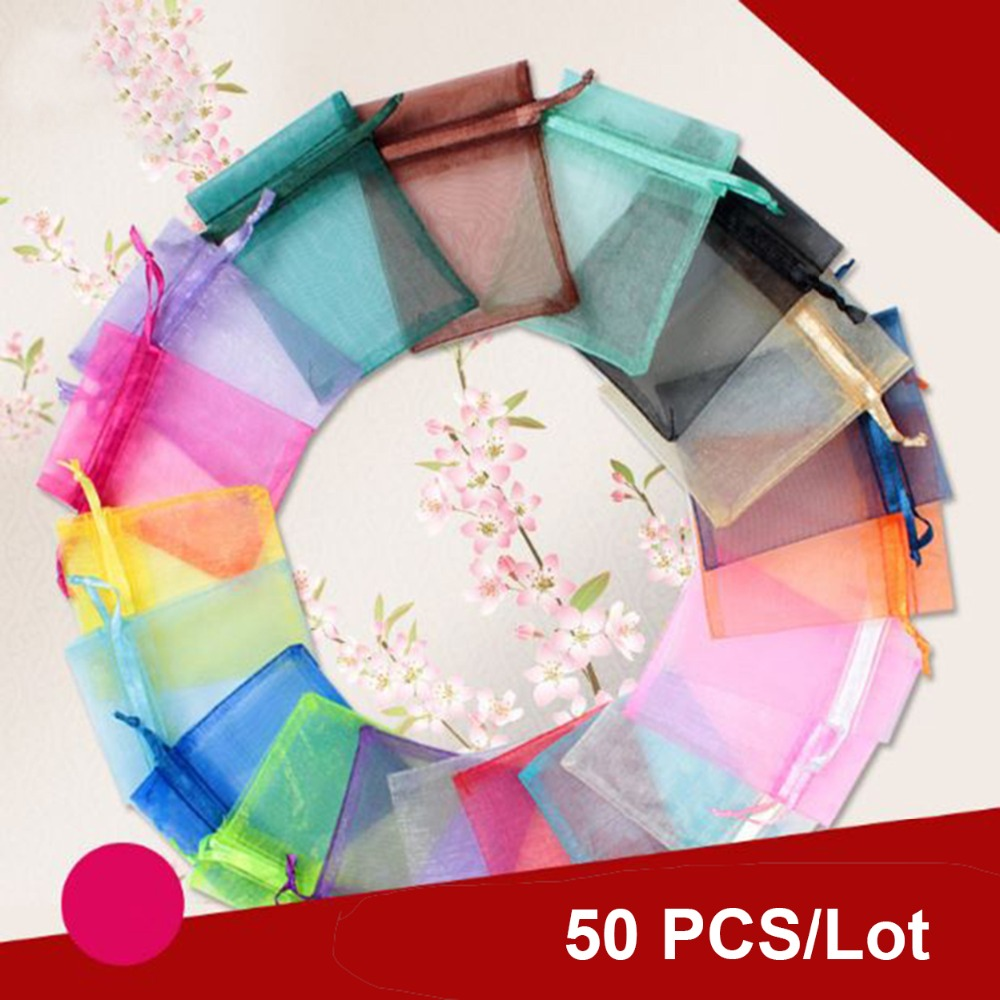 50pcs Gift Bags Jewelry Organza Bag Wedding Birthday Party Drawable Wedding Pouches Present Jewel Candy Thank You Packaging