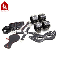 Davidsource Spiked Leather Wrist & Ankle Cuffs Studed Mask Wiffle Ball Gag Bat Shaped Collar Small Paddle Restraint Sex Toys