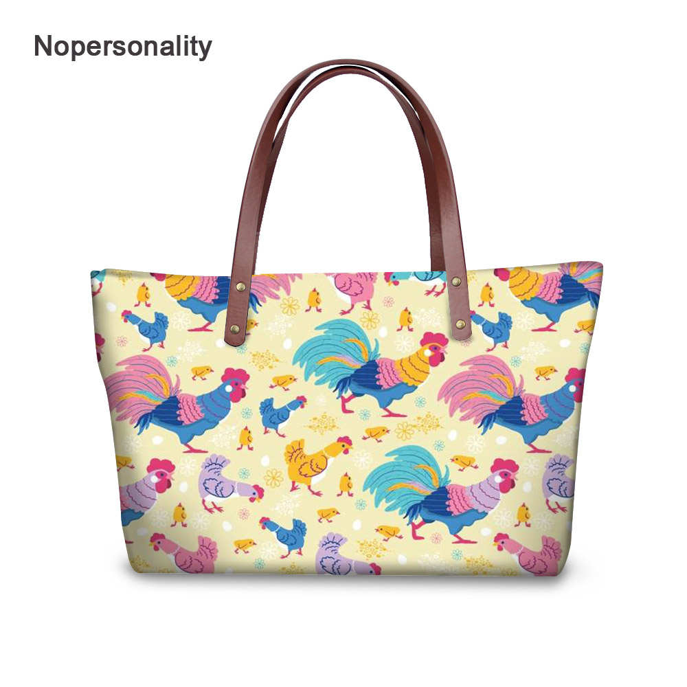 Nopersonality Floral Farm Chicken Print Handbag Purse for Women Large Capacity Neoprene Crossbody Bags Fashion Ladies Tote Bags