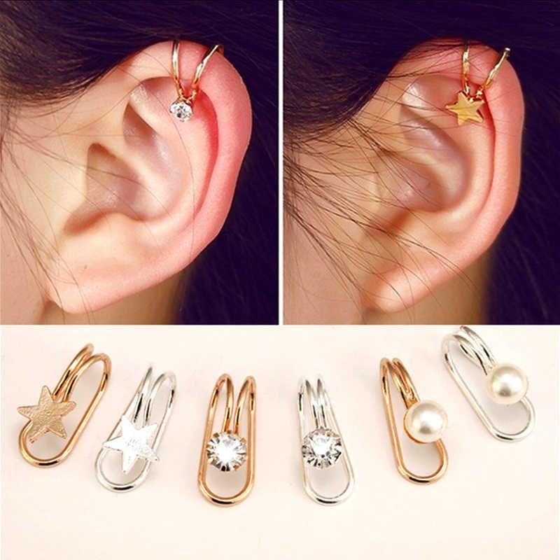 אוזן קאף U כוכב ירח עגיל פאנק מינימליסטי נשים מתכת אבזם מזויף פירסינג אוזן קליפ ללא לנקב פרל עגילים