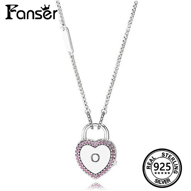 FANSER Fashion Lock Your Promise Necklace Has Logo 100% Pure Silver Foundation Chain Factory Wholesale Free Mail Female