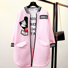 and winter space cotton sweater female Korean students Mickey cartoon code loose in the long section of baseball coat
