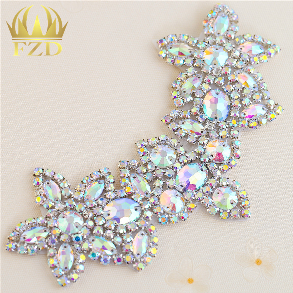 30pieces Wholesale Sewing On Crystal Beaded AB Rhinestone Applique for Wedding Dress Bridal Sash Clothing