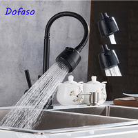 Dofaso Quality 360 Swivel Flexible Rotate Spring Faucet Black Kitchen Sink Faucets For Cold And Hot