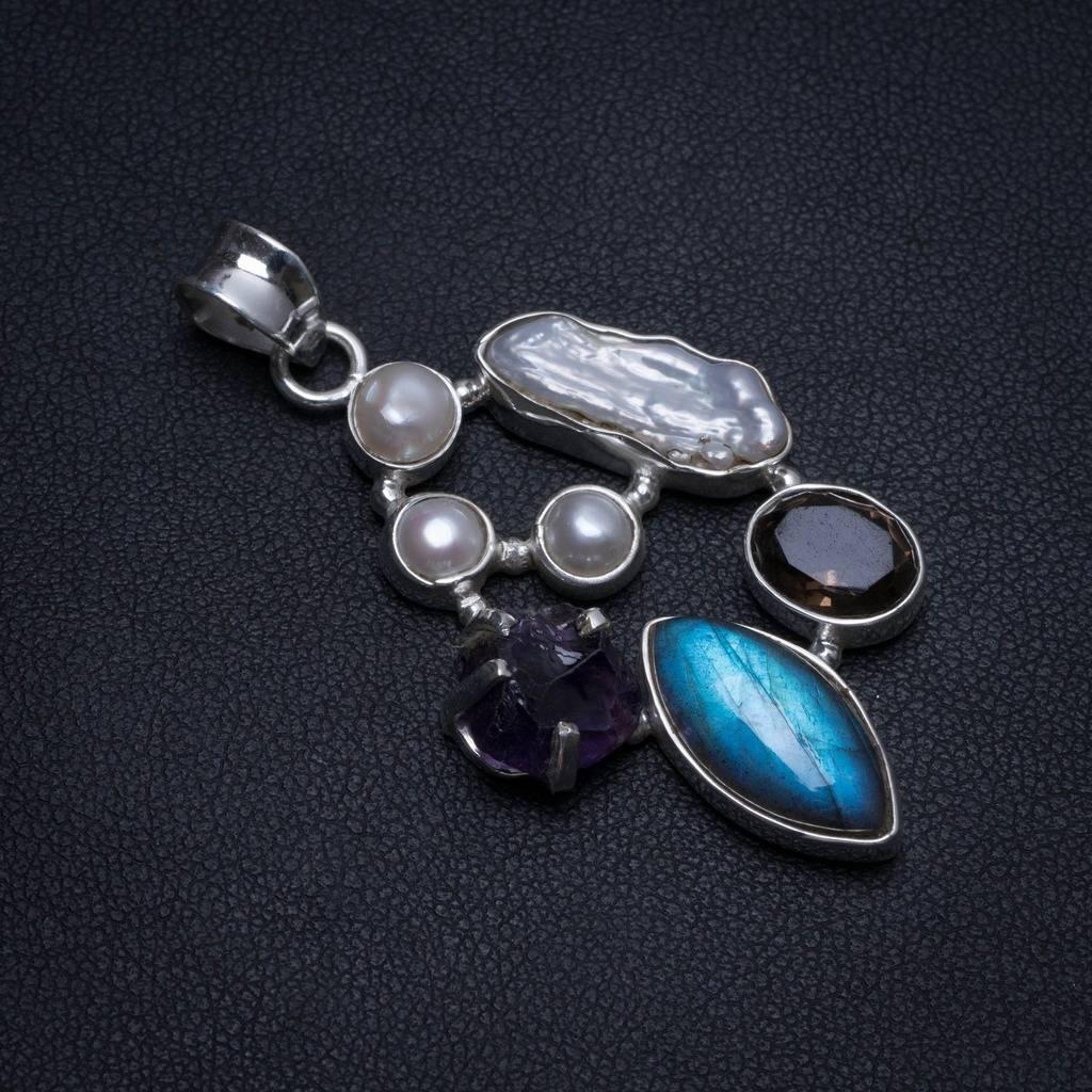 Labradorite naturelle, Quartz fumé, perle Biwa, perle de rivière Rare améthyste 925 pendentif en argent 2
