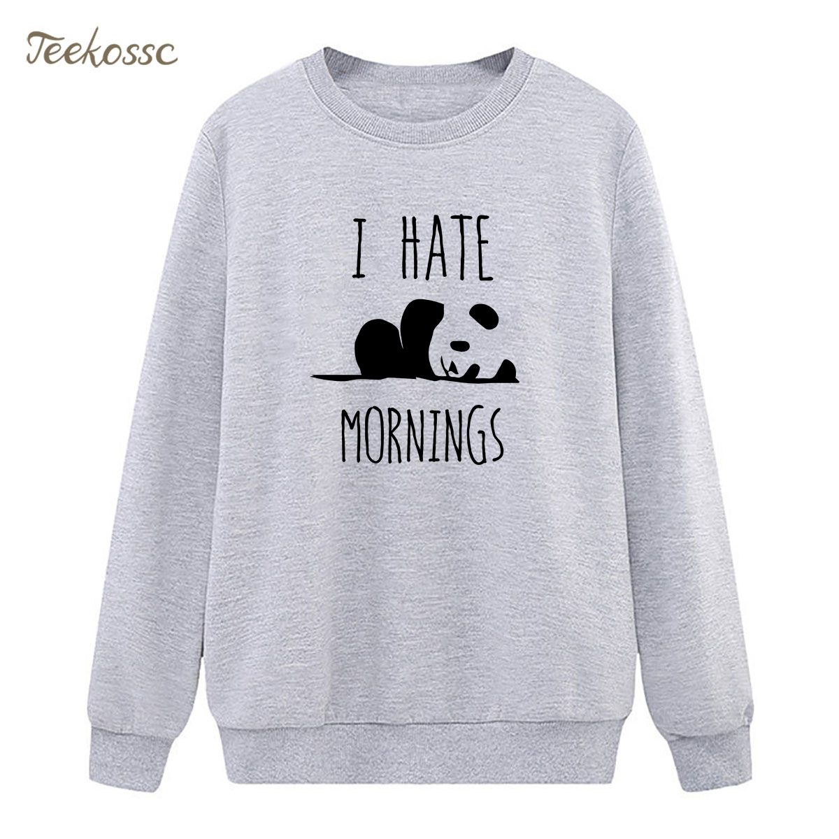 HATE MORNINGS Panda Sweatshirt Cute Hoodie Winter Autumn Women Lasdies Pullover Loose Fleece Hipster Streeetwear Brand Clothing