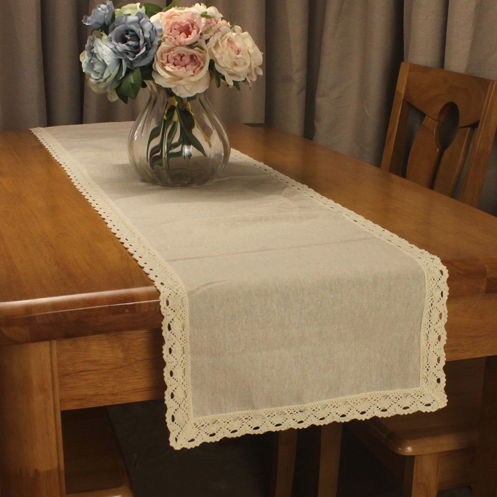 CURCYA Vintage Original Color Beige Cotton Linen Table Runners For Wedding Decoration Parties Lace Table Runner Household Linen