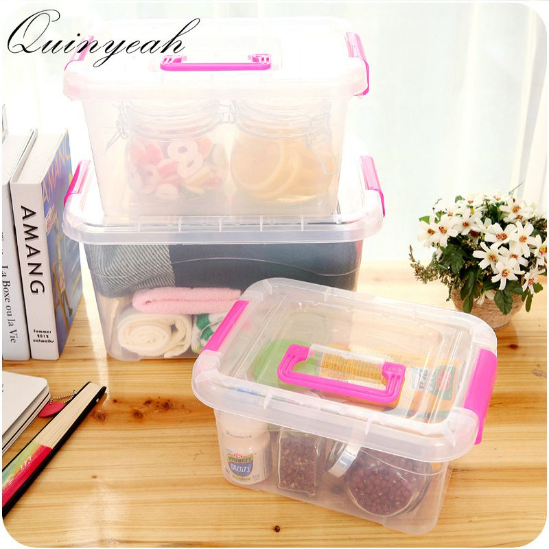 Portable Transparent Plastic Clothes Storage Boxes Kitchen Food Container  Home Organizer(China)