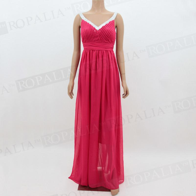 Элегантное женское платье для свадебной вечеринки, шифоновое платье в пол на тонких бретелях, большие размеры XL, платья подружек невесты CK67 - Цвет: rose red