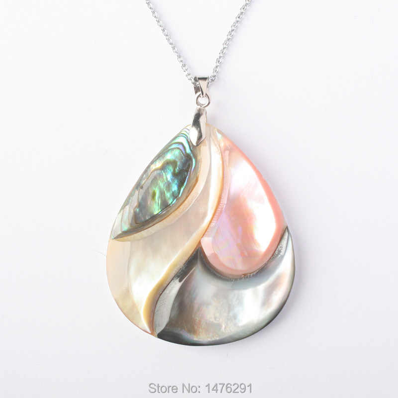 36X43MM  Four Colors Heart-shaped Shell Pendant 1PCS