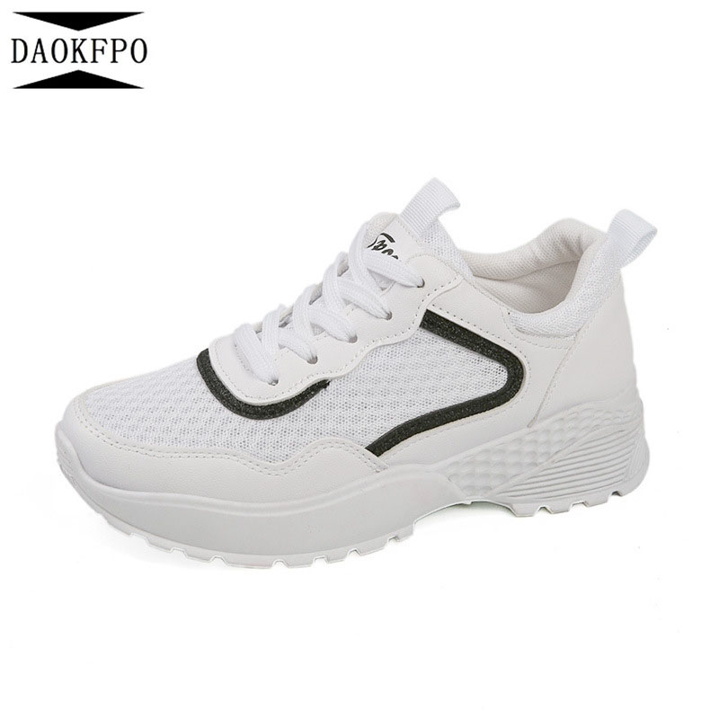 DAOKO New White Sneakers Women Fashion Shoes Thick Flats Height Increasing Women Breathable Air Mesh Wedges Shoe NVF-14
