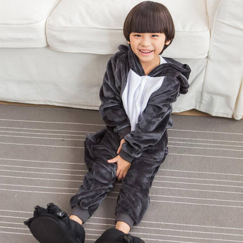 Kid Grey Golf Cosplay Kigurumi Onesies Child Cartoon Winter Anime Unicorn Jumpsuit Costume For Girl Boy Animal Sleepwear Pajamas
