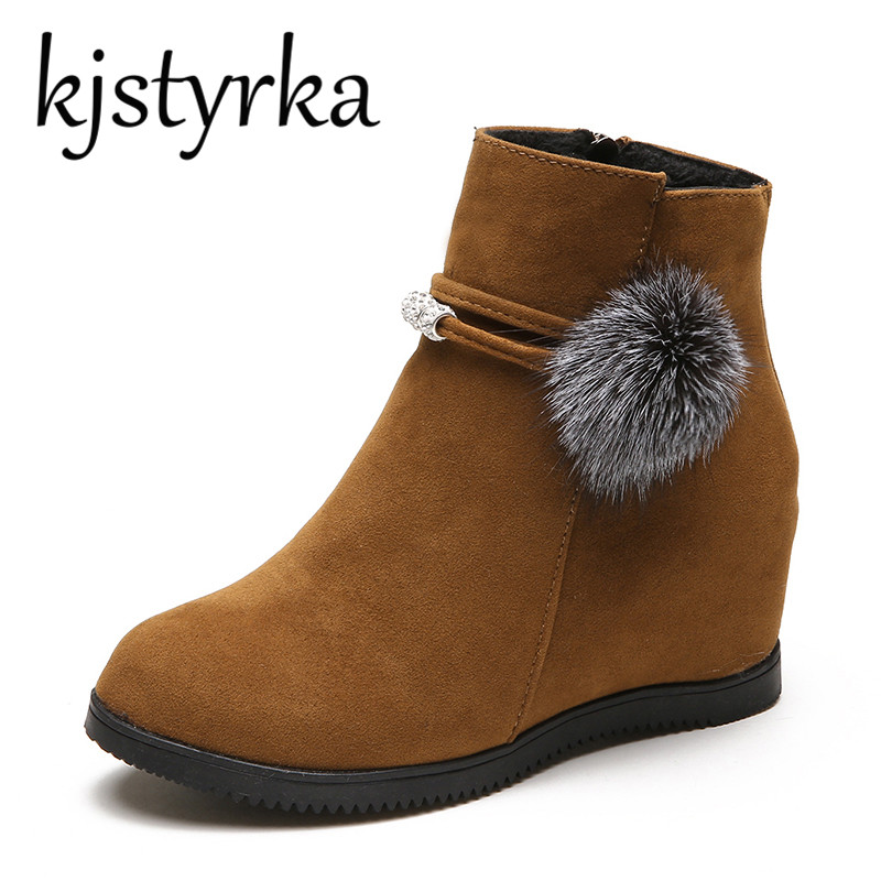 Kjstyrka 2018 New Boots Women Winter Warm Cotton Shoes Female Hidden Wedges Increased Ankle Boots Suede High Heels Autumn women winter warm snow boots cotton shoes hidden wedges heel increased ankle snowshoes lt88