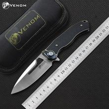 VENOM BONE DOCTOR M390 Titanium+CF Flipper folding knife outdoor camping hunting survival pocket kitchen fruit knives EDC tools