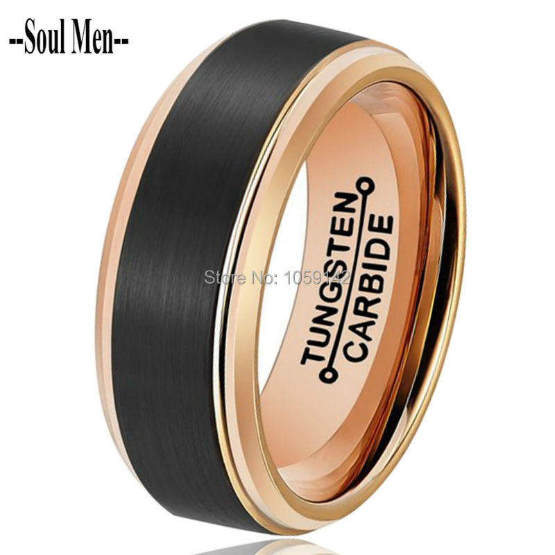 Alibaba Aliexpress Cool Men Ring 8Mm Classic Black  Rose -3191