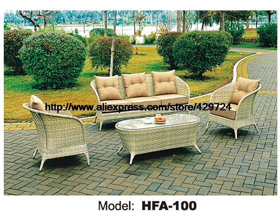 Beige Rattan Sofa Set 113 Combination Vine Furniture Best Outdoor Garden Beach Patio Low Price New Design Hfa100