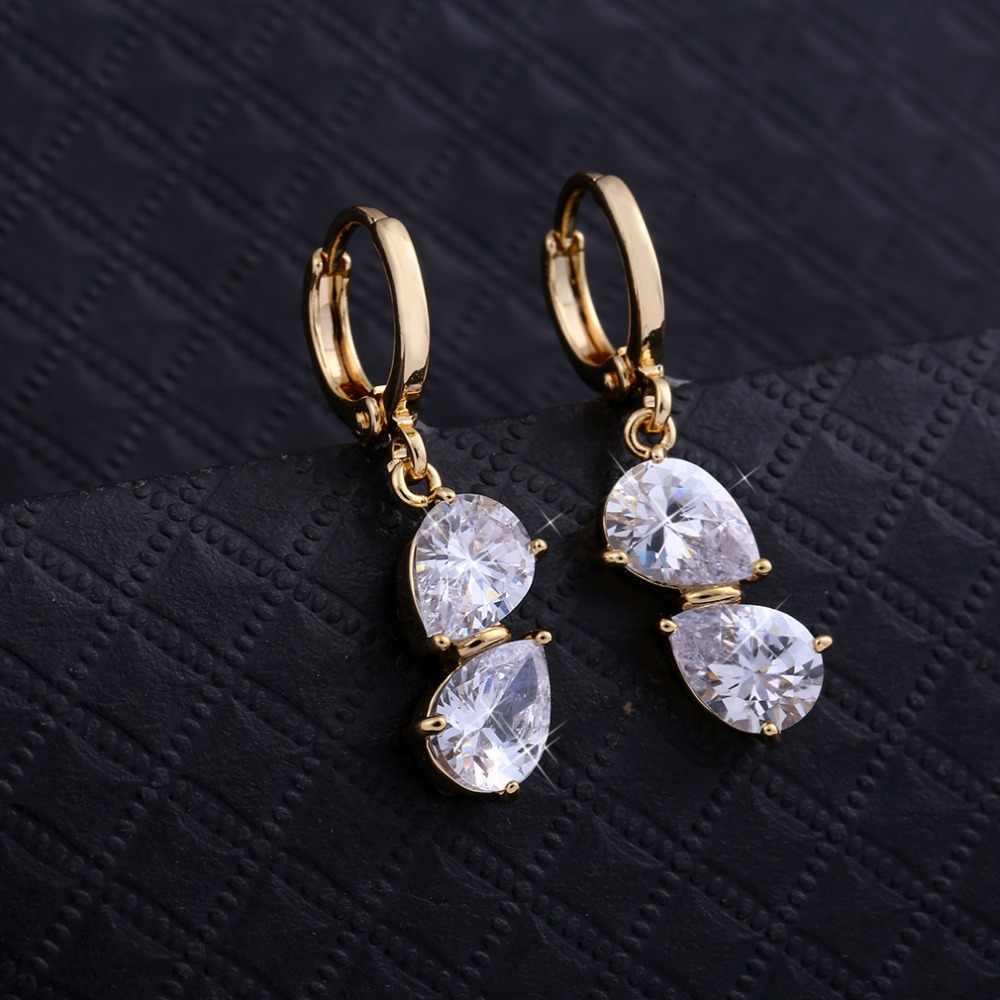 Kuniu luksusowy geometryczny kształt drop kolczyki dla kobiet cyrkon materiał metal romantyczny piękny styl moda biżuteria