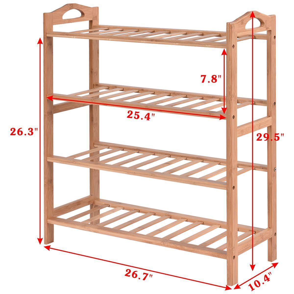 4-Tier Multi-Purpose Bamboo Shoe Rack Shelf Storage Organizer Cabinet Bathroom