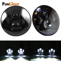 Free Shipping 1 Pair Black 7 Inch LED Headlights Replacement For Jeep Wrangler JK 2 Door