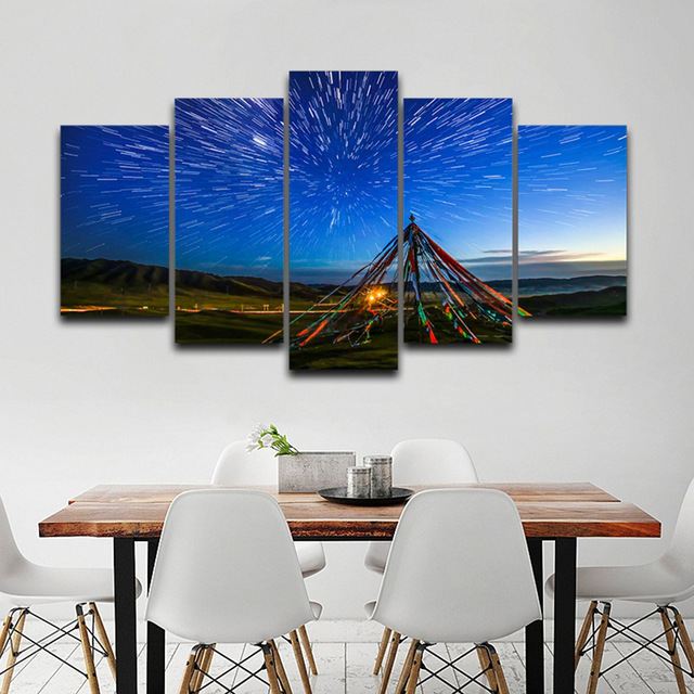Wall Art Pictures Home Decoration Posters Frame 5 Pieces Star Sky Meteor Shower Mountains Landscape Living Room Painting Canvas