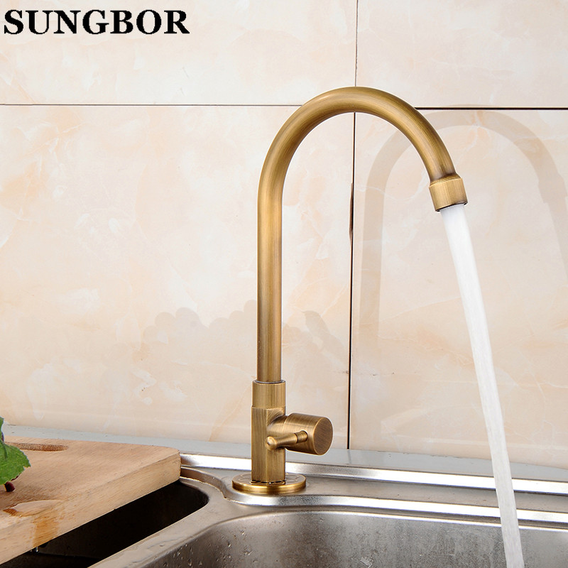 Free shipping Kitchen Faucet Antique Brass Swivel Bathroom Basin Sink Mixer Tap Crane CF 9810F