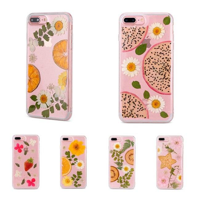 Handmade Pressed Dried Real Flower for iPhone 6 6S Plus 7 7 Plus 8 8 Plus X Pitaya Chrysanthemum Epoxy TPU Phone Case Cover