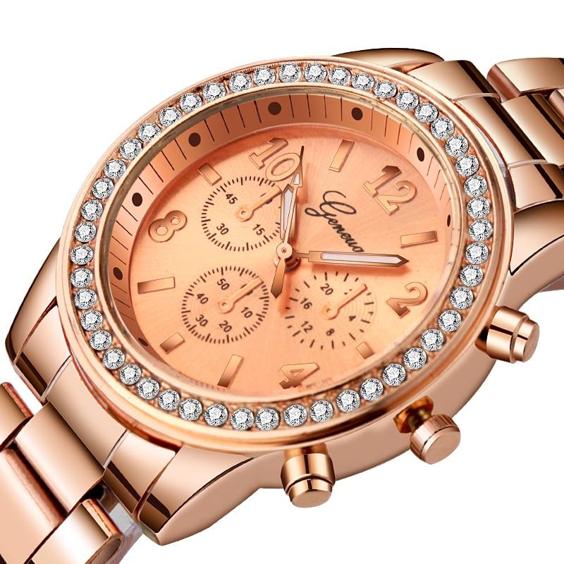 Geneva Women's Luxury Watch Rhinestone Stainless Steel Watches Ladies Fashion Diamond Wristwatches Clock Relogio Feminino