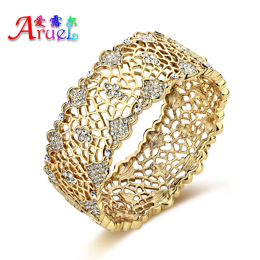SWATER Fashion Crystal Africa Jewelry Hollow Out Flower Big Bangle ...