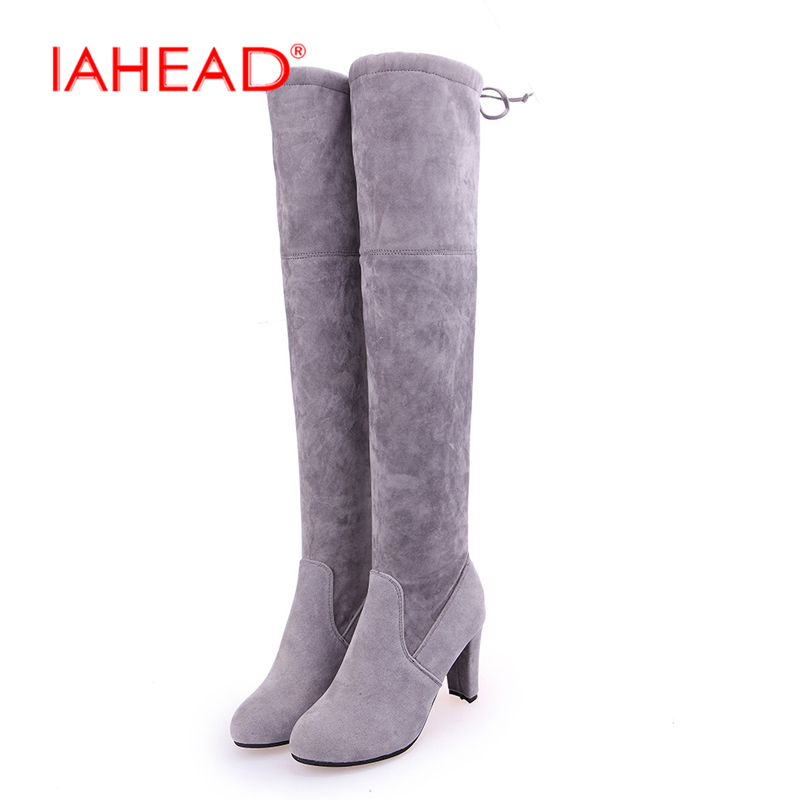 где купить  IAHEAD Brand Winter Thigh High Boots Women Faux Suede Leather High Heels Knee Botas Mujer Plus Size Shoes Woman 34-43 UPA443  по лучшей цене