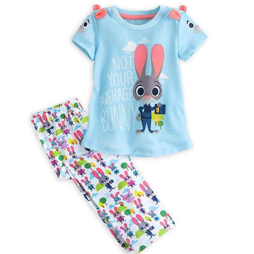 Милый мультфильм Детские Обувь для девочек Дети Зоотопия футболка Топы + брюки Брюки для девочек; летняя одежда для девочек