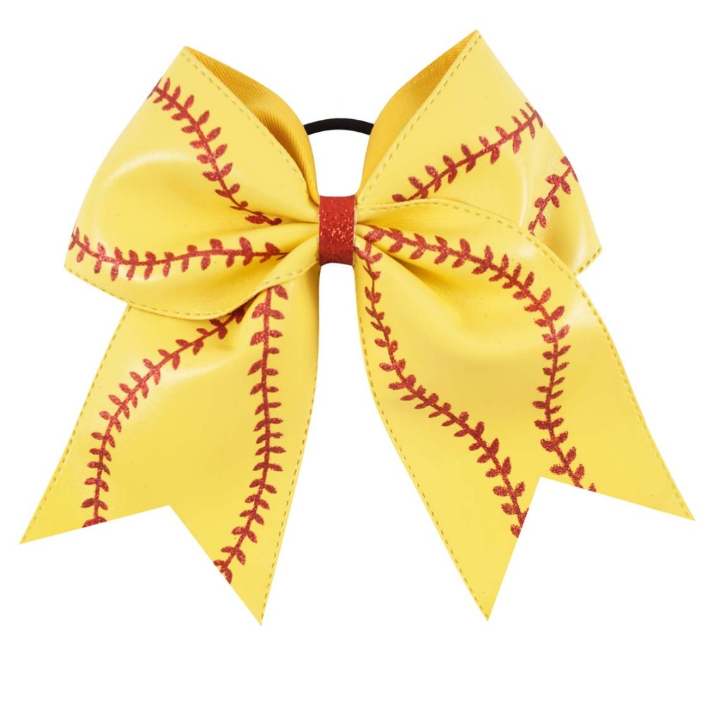 "Image 4 - 7"" Baseball Leather Cheer Bow With Rubber Band For Girls Kids Handmade Softball Glitter Cheerleading Bow Hair Accessories 10 Pcscheer bowshair tiesbow hair tie -"