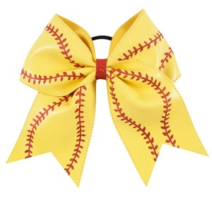 "Image 4 - 7"" Baseball Leather Cheer Bow With Rubber Band For Girls Kids Handmade Softball Glitter Cheerleading Bow Hair Accessories 10 Pcs"
