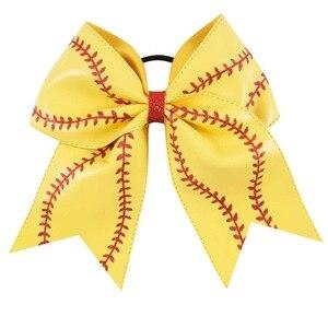 """Image 4 - 7 """"Baseball skórzana Cheer Bow z gumką dla dziewczynek dzieci Handmade Softball brokat cheerleaderek łuk akcesoria do włosów 10 sztuk"""