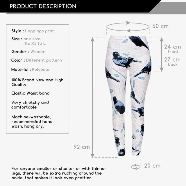 White Leggings Funny New Fashion bower birds Leggings Digital 3D  Printed Women/Girl Leggings For Fashion Dress