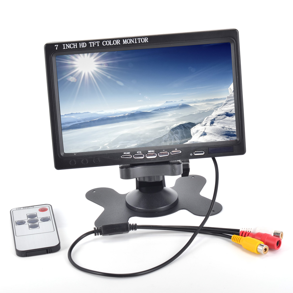 7 inch LCD HD 1024*600 Resolution Car Monitor HDMI VGA AV Digital Display For Camera + Remote Control 12 inch 12 1 inch vga connector monitor 800 600 song machine cash register square screen lcd industrial monitor display
