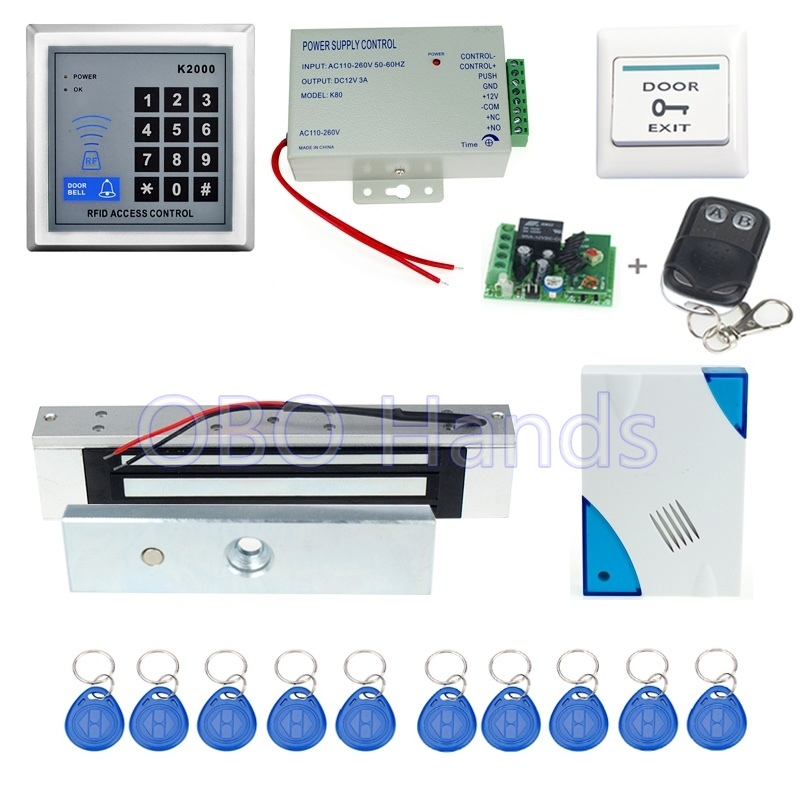 ФОТО Free shipping Full RFID access control K2000+electronic Magnetic lock+power supply+key fobs+door bell+exit button+remote control