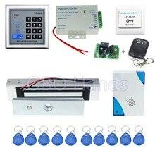 Envío gratis Completo K2000 RFID de control de acceso + cerradura Magnética electrónica + fuente de alimentación + clave fobs + timbre de la puerta + botón de salida + control remoto