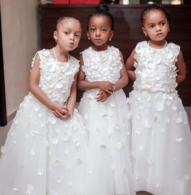 Pure White A Line   Flower     Girl     Dresses   2018 vestido longo Appliques O Neck First Communion   Dresses   For   Girls   Wedding Party M1247