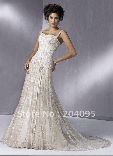 Gatsby Wedding One-piece Slim Line Gown With Corset Closure Lace Gracefully Delicate Customer Made