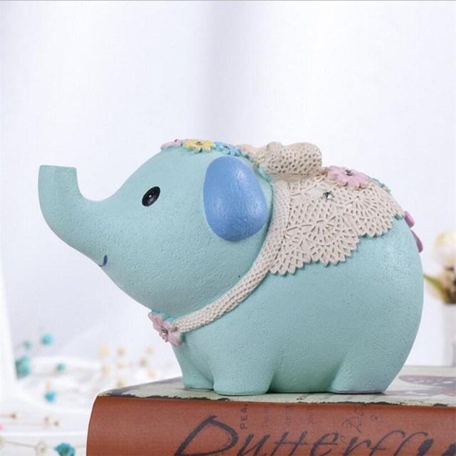 Tirelire éléphant bleu 2 bébé