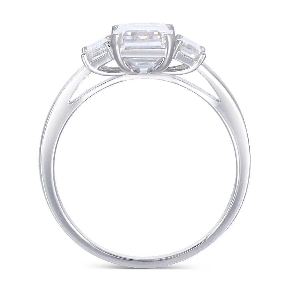 Transgems 18K 585 White Gold Moissanite Engagement Ring Center 6X8mm F Color Moissanite Emerald Cut 3